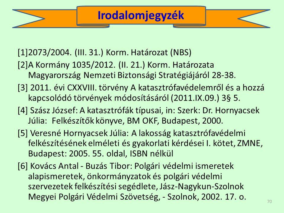 Irodalomjegyzék [1]2073/2004. (III. 31.) Korm. Határozat (NBS)